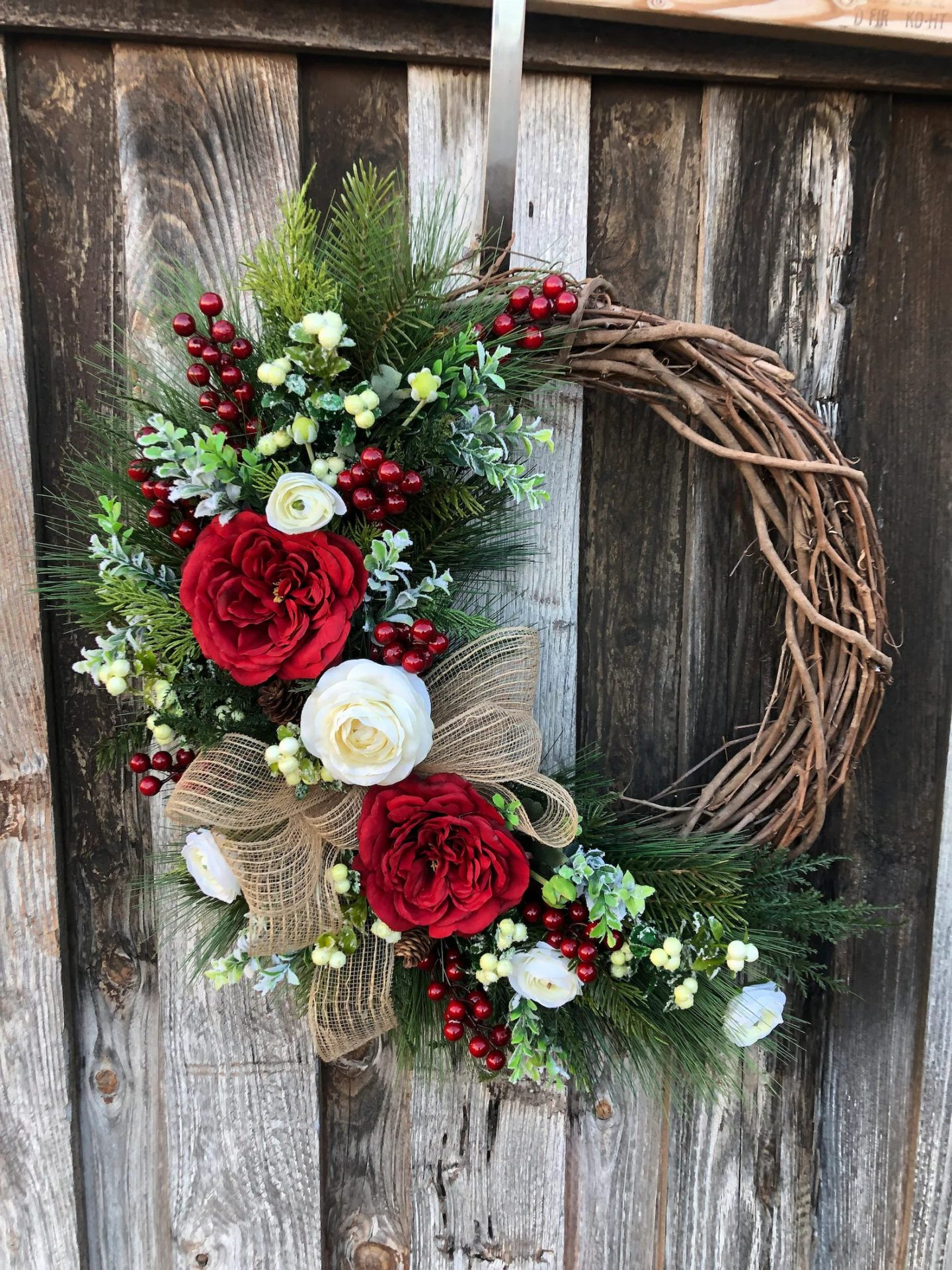 Grapevine Wreath With White And Red Flowers