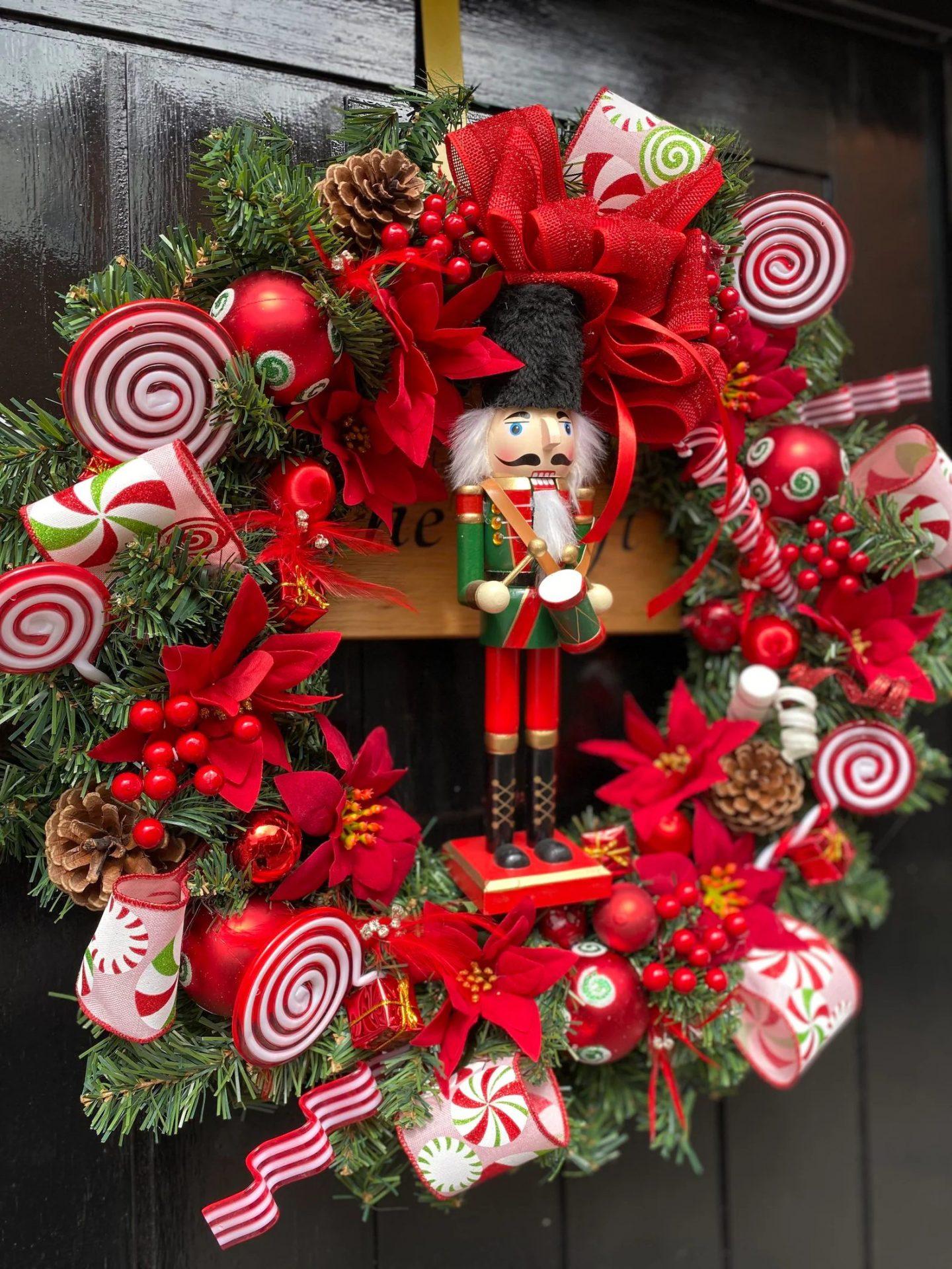Red Nutcracker Christmas Wreath