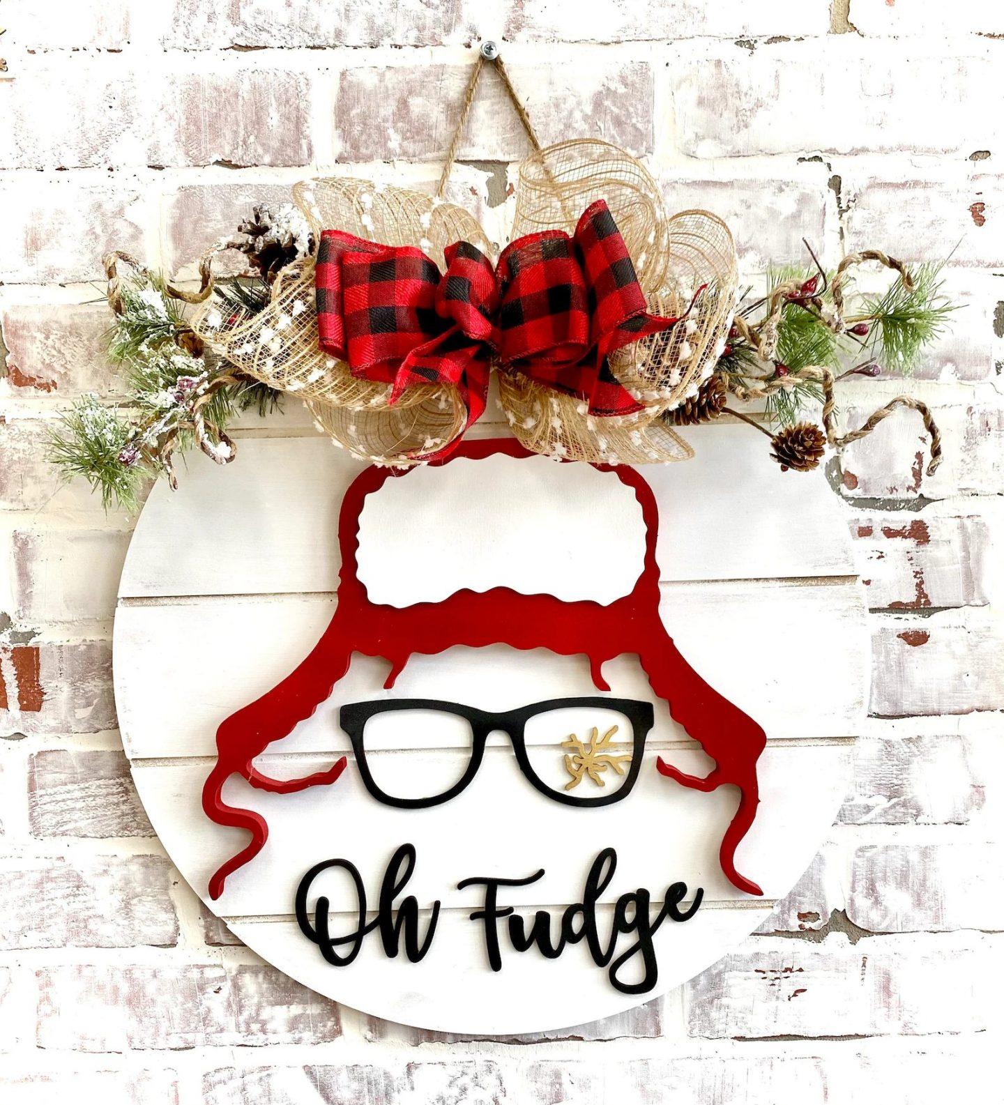 White Funny Christmas Door Hanger