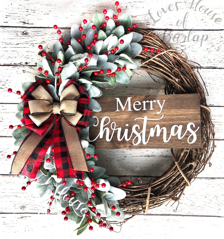 Merry Christmas farmhouse wreath