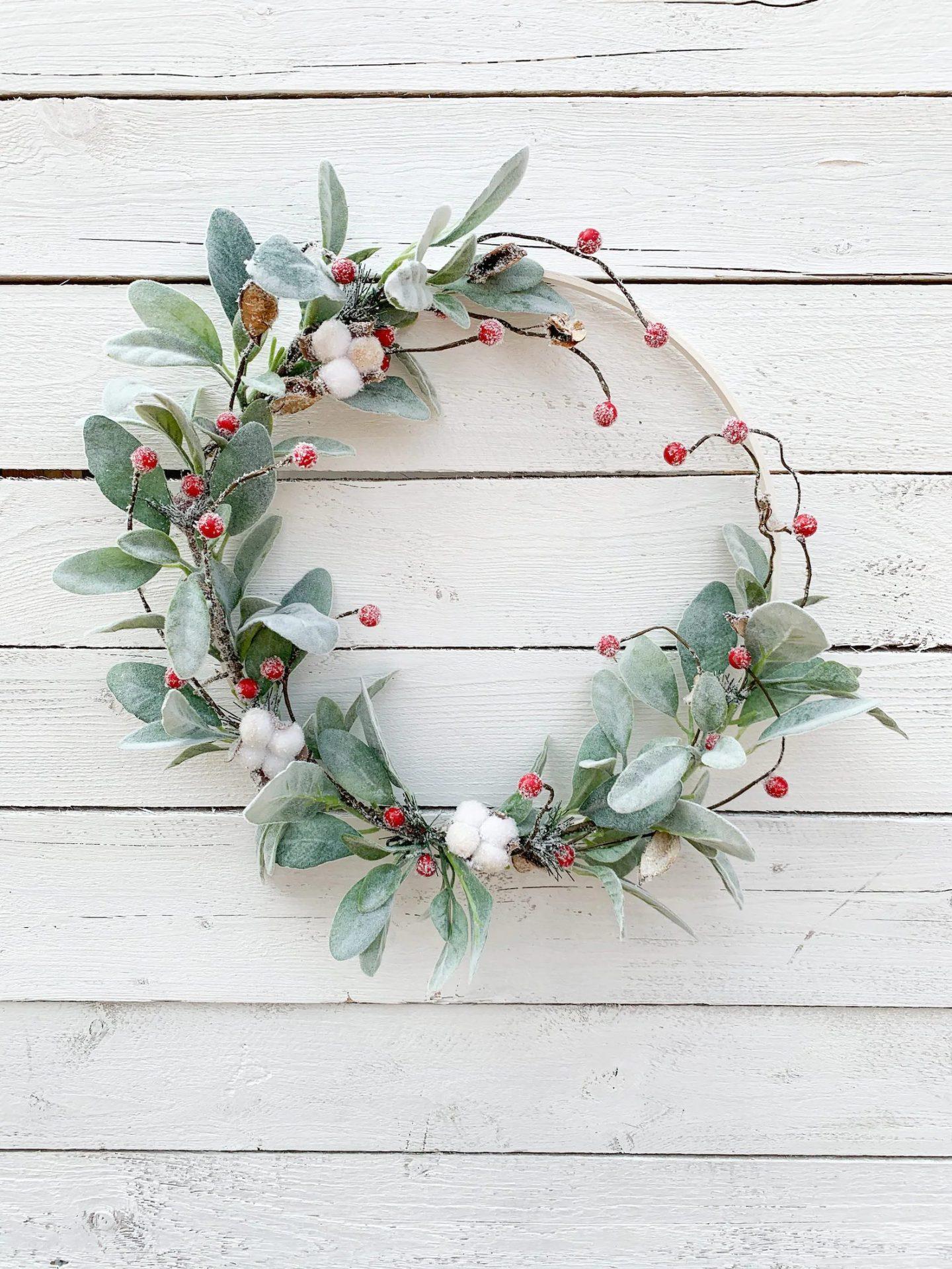 Minimalist Christmas hoop wreath with berries and lambs ear