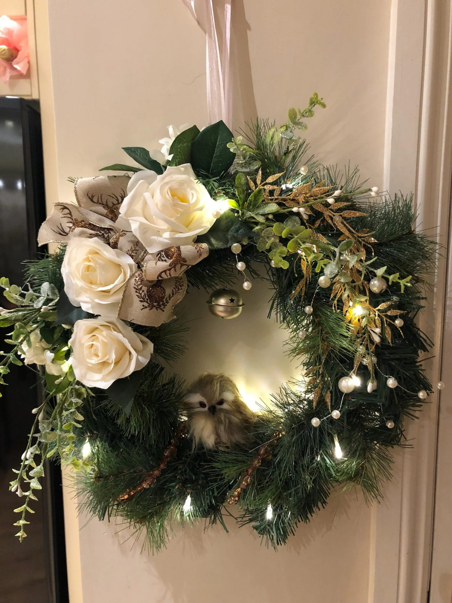 Custom Christmas wreath with centerpiece and bow