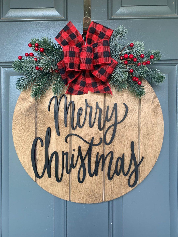 Rustic Merry Christmas Door Hanger