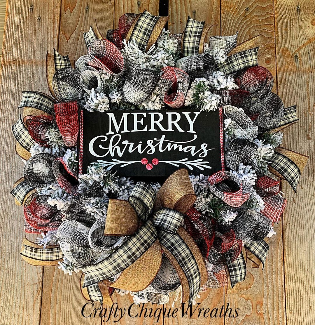 Rustic Merry Christmas wreath with buffalo plaid