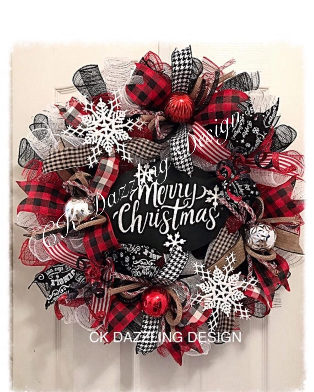 Buffalo Plaid Deco Mesh Merry Christmas Wreath