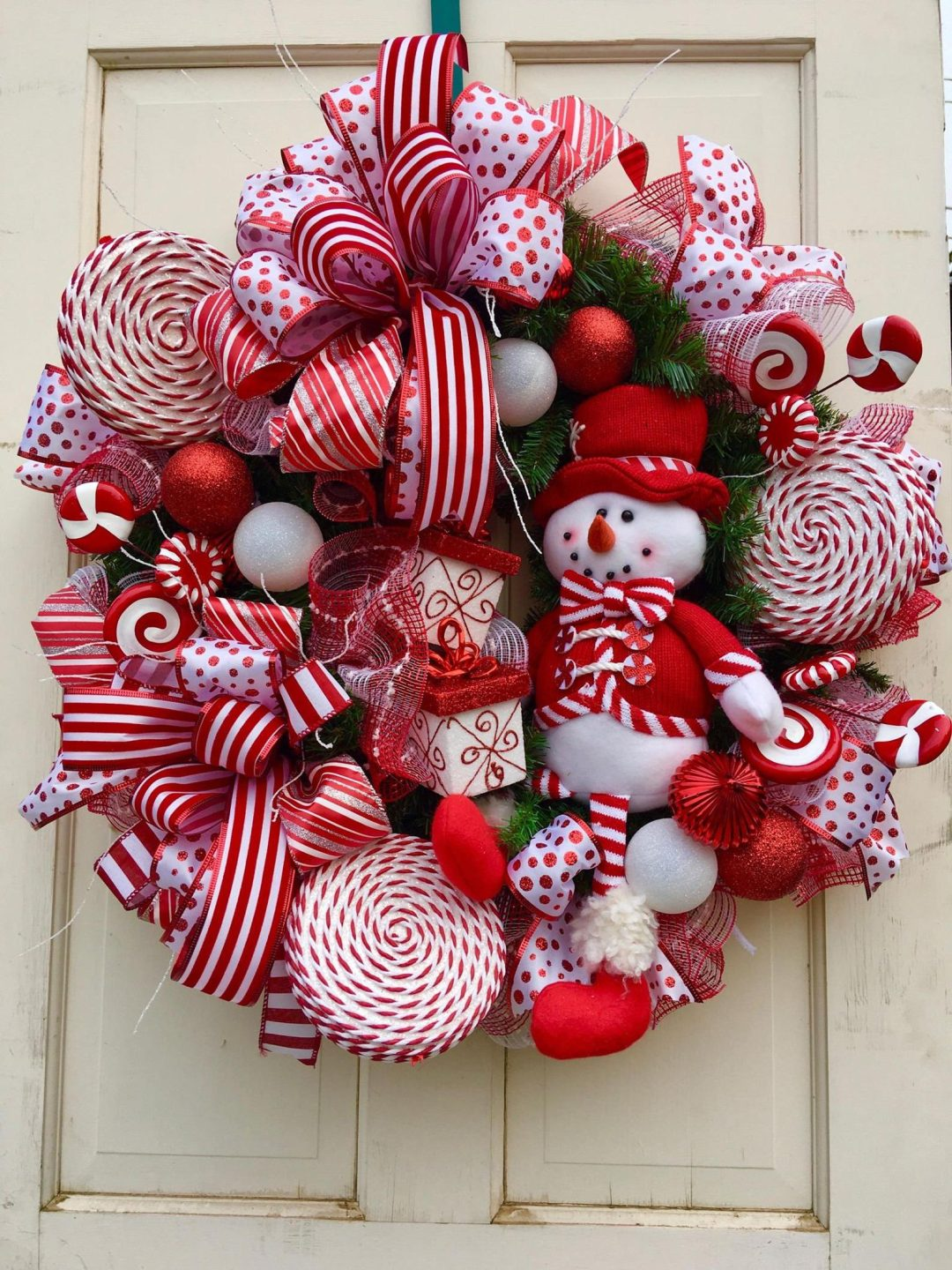 Red peppermint wreath with snowman - holiday wreath for Christmas