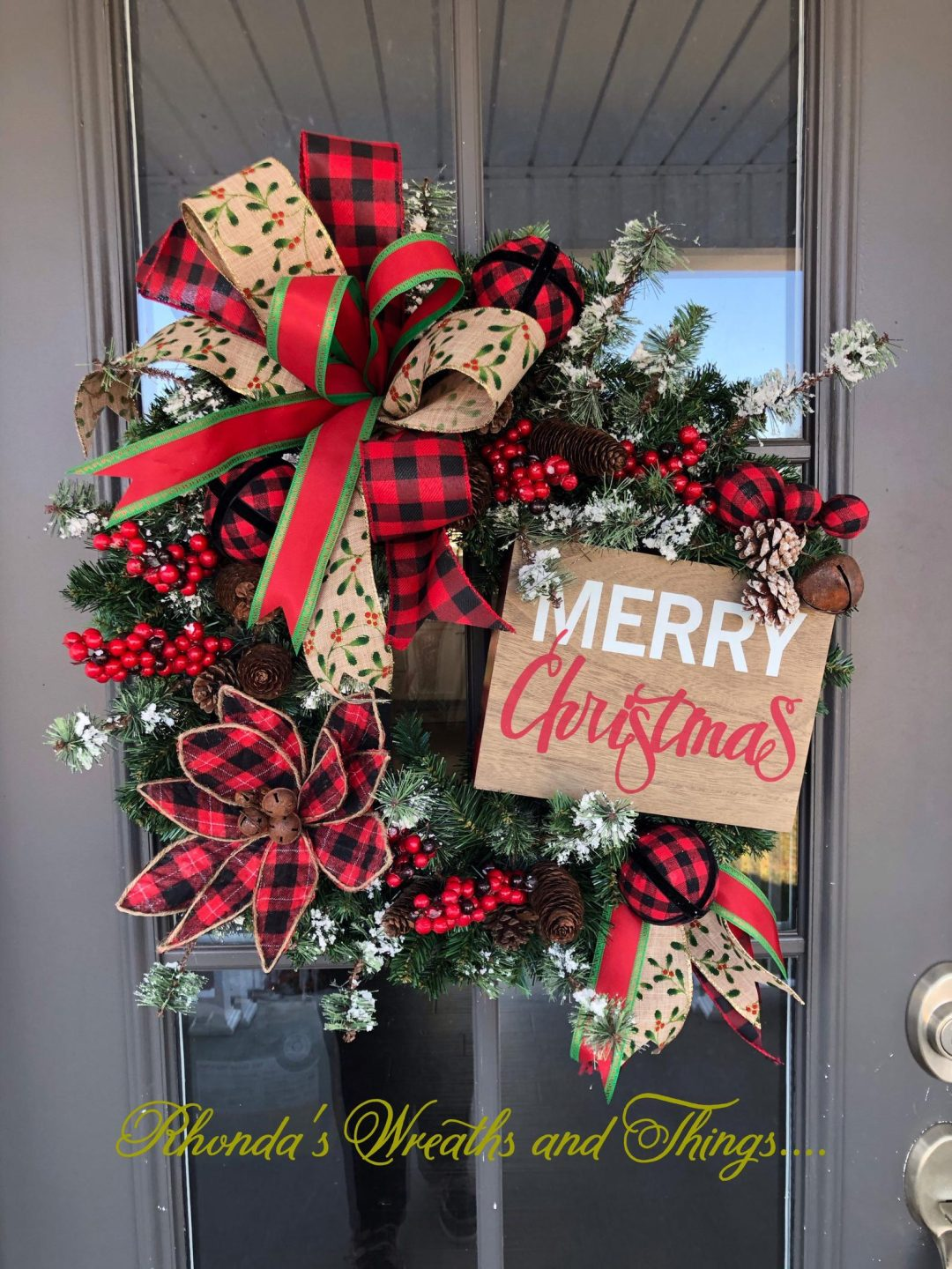 Farmhouse Merry Christmas wreath with red ribbons