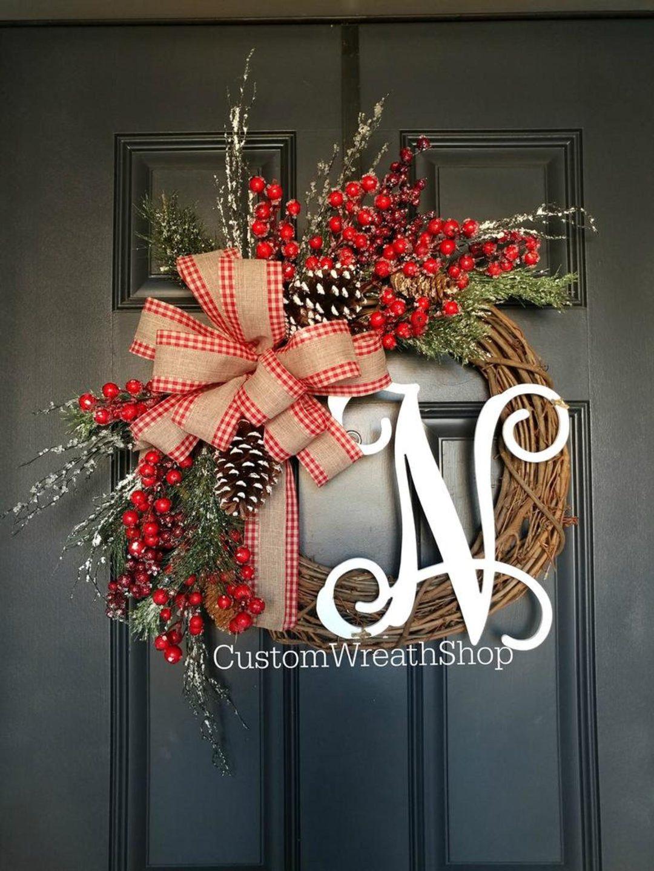 Personalized farmhouse Christmas wreath with burlap ribbon