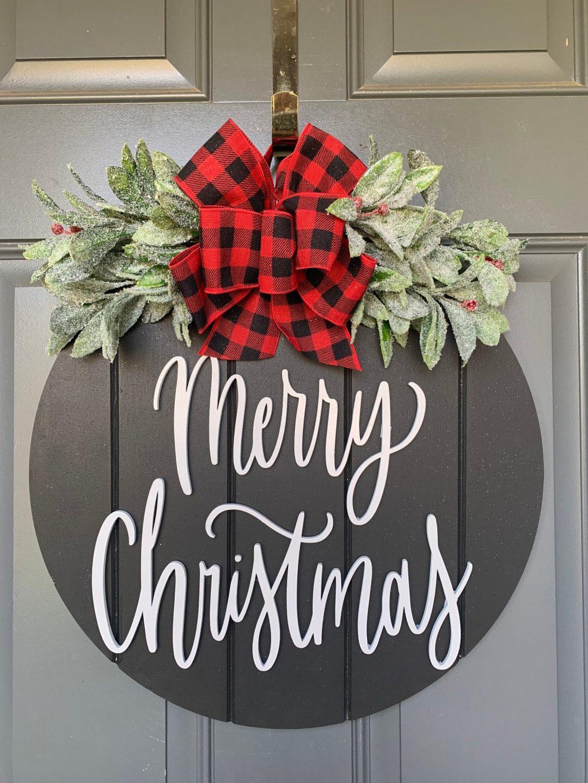 Black Merry Christmas door hanger with buffalo plaid