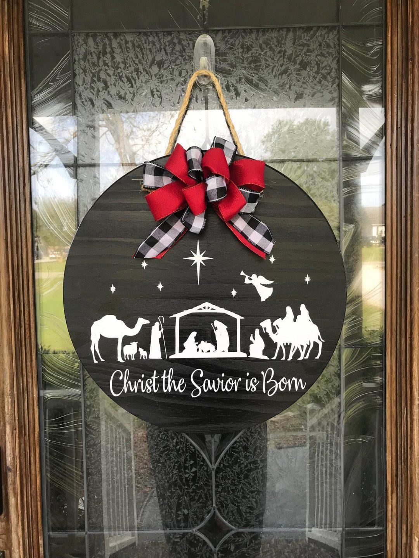 Wooden Christmas Nativity Door Hanger