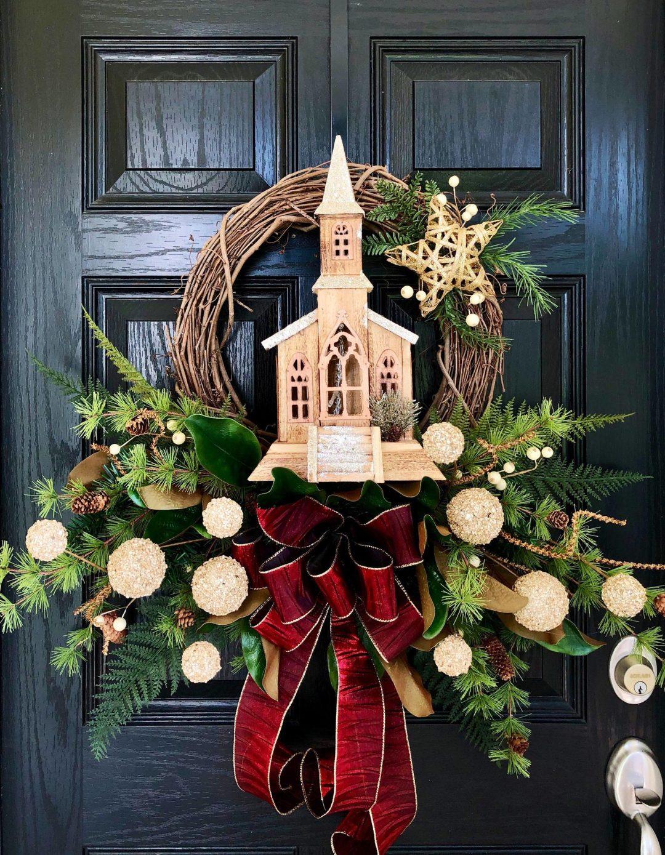 Church wreath with ribbon