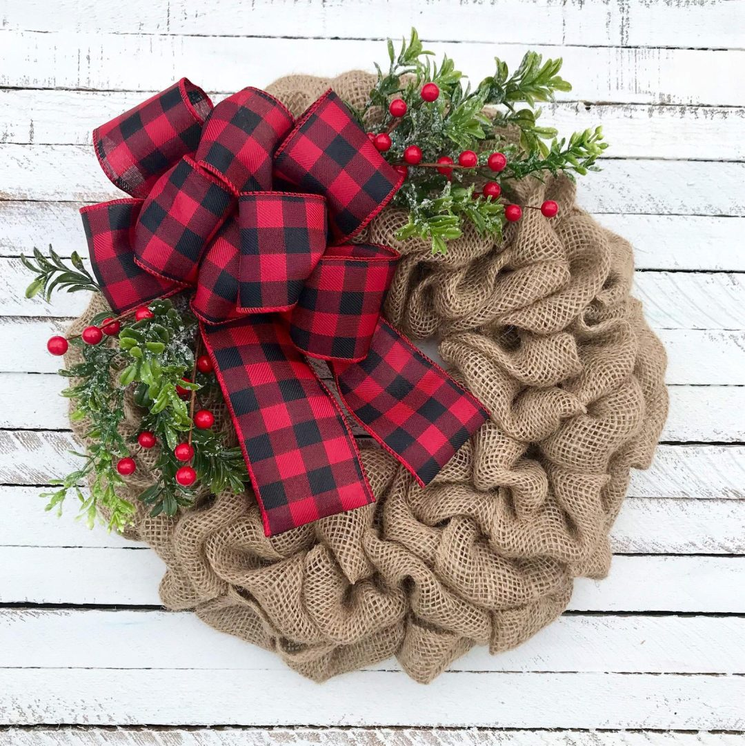 Burlap Christmas wreath with buffalo plaid red ribbon