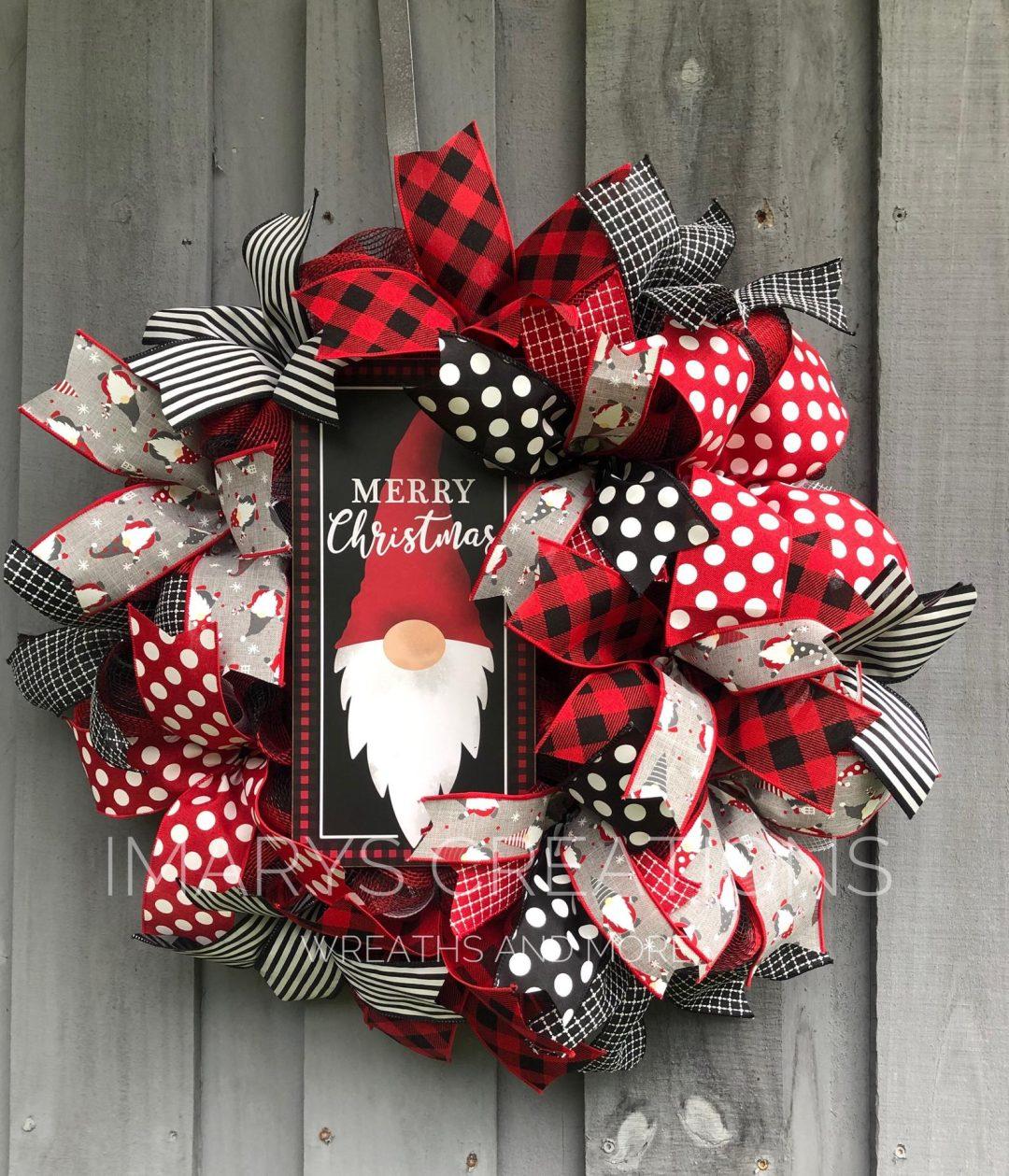 Black and red buffalo plaid gnome wreath