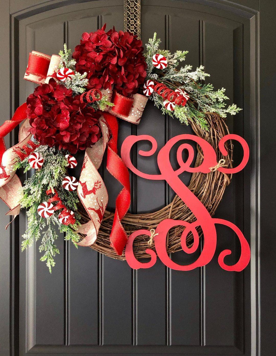 Rustic red monogram Christmas wreath