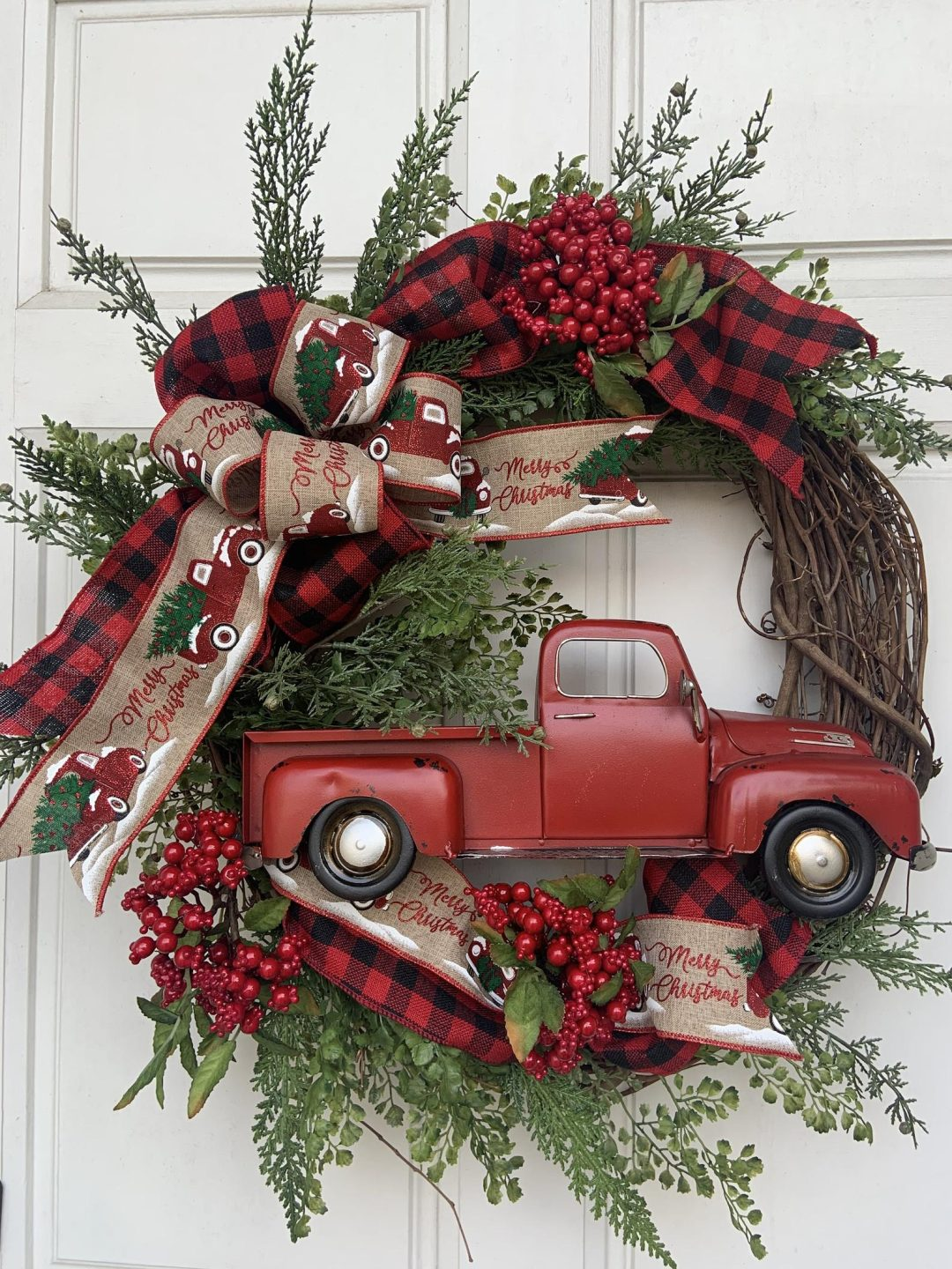 Rustic red truck wreath with ribbons