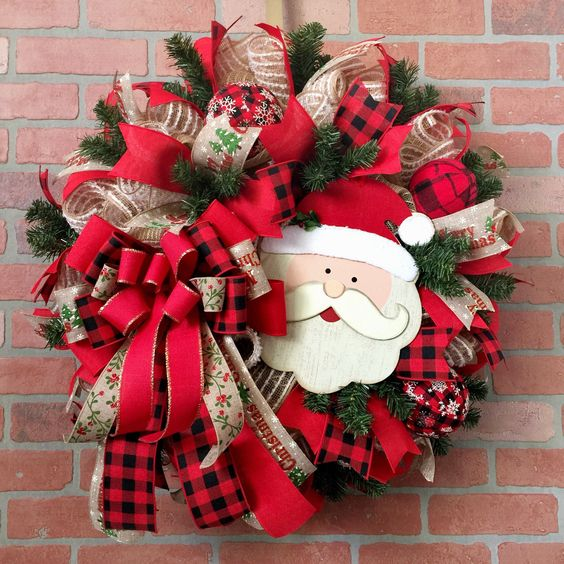 Santa Claus Wreath with red ribbon