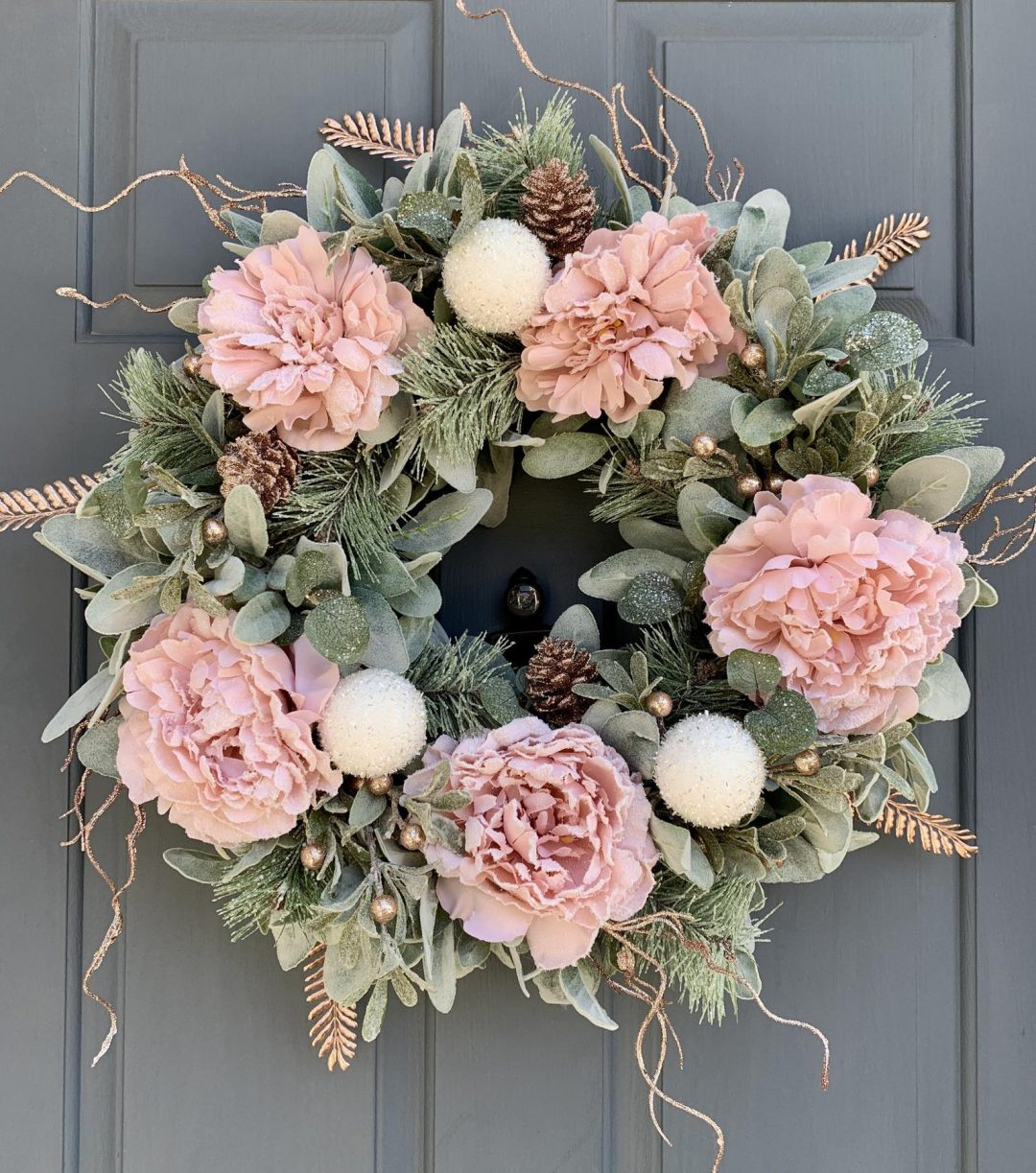 Rose Gold Christmas Wreath With Lamb's Ear