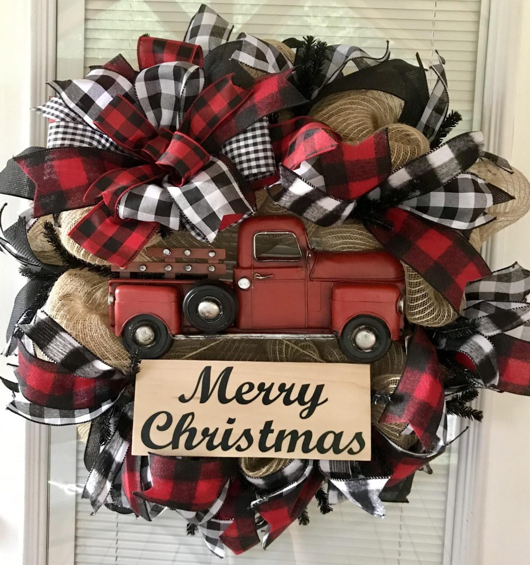 Red Truck Wreath With Buffalo Plaid