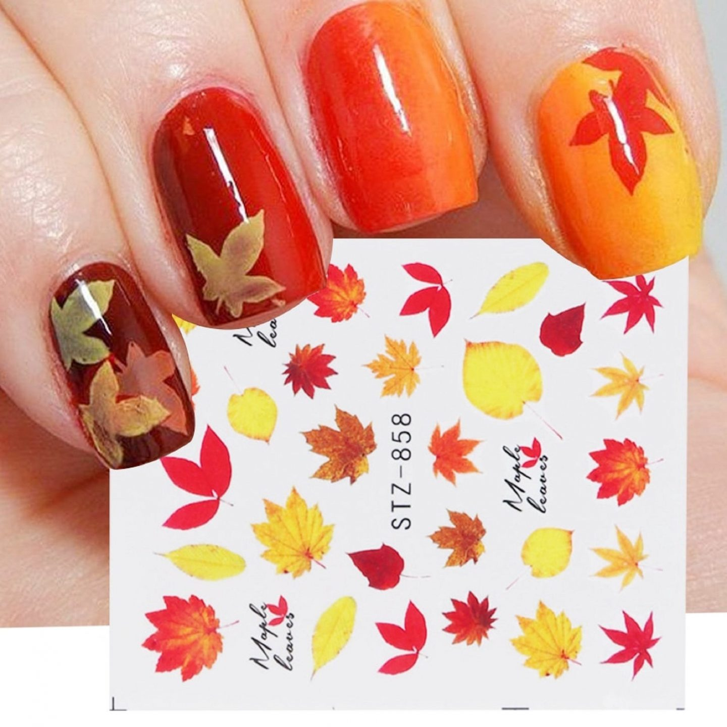 Ombre orange fall nails with leaf nail art