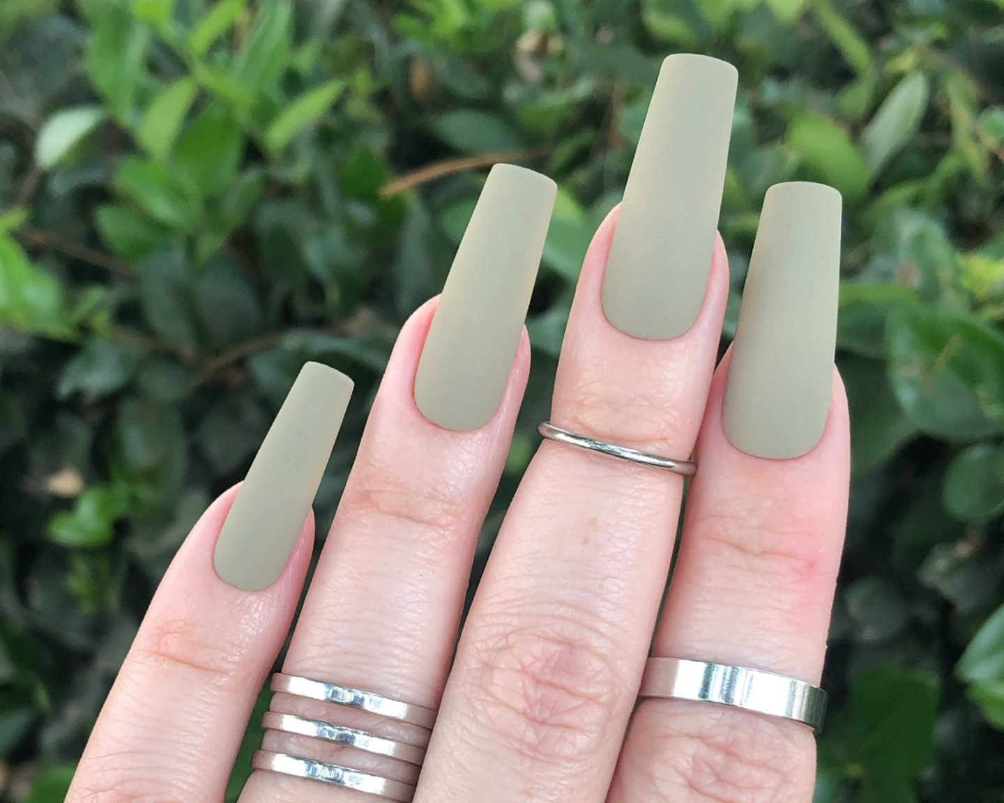 Long matte sage green nails for fall