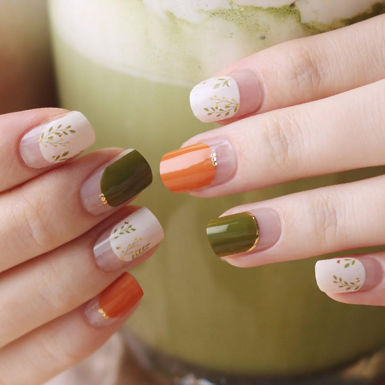 Short olive green fall nails