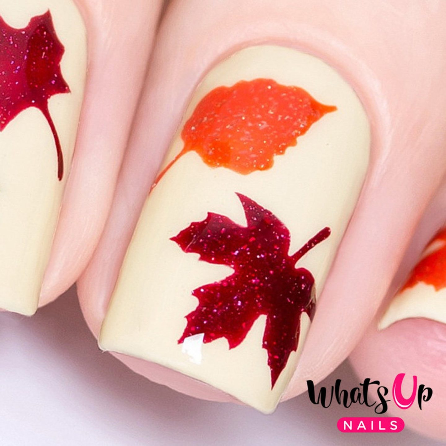 Cute fall nails with maple leaf nail art