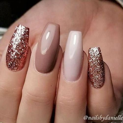 Easy fall nail designs with nude glitter nails