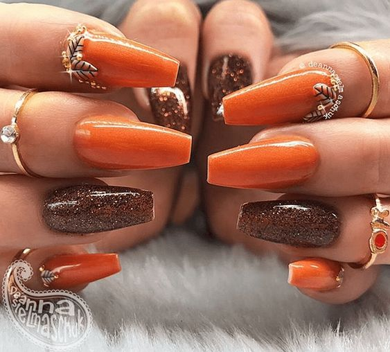 Burnt orange easy coffin fall nail designs with brown glitter