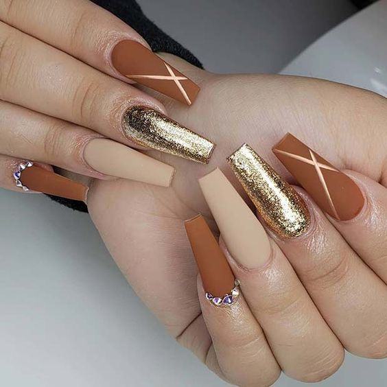 Acrylic coffin fall nail designs with gold and burnt orange