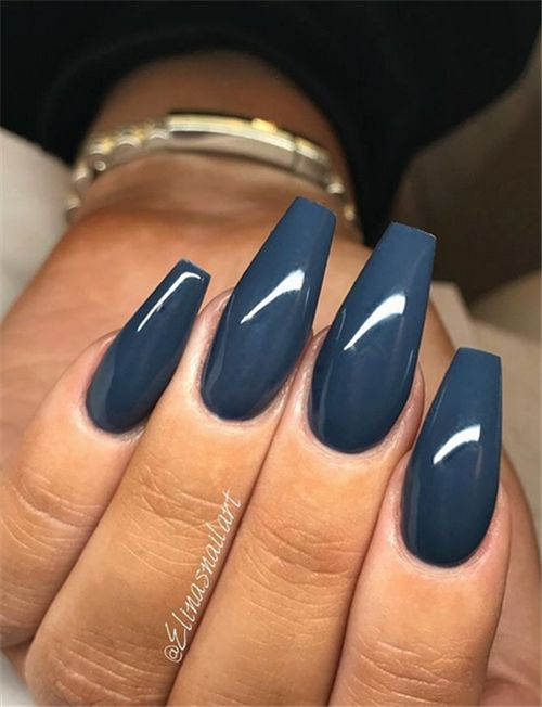 Easy navy blue acrylic coffin nails