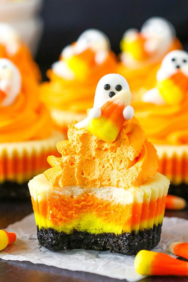 Fun Halloween Food Ideas: Mini Candy Corn Cheesecakes