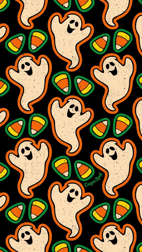 Cute Halloween wallpaper iphone with candy corn and ghosts