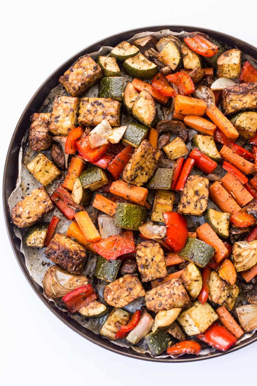 Meal Prep Balsamic Tempeh & Roasted Vegetable Quinoa Bowls