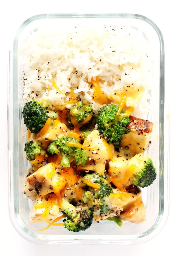 Cheesy Broccoli, Chicken and Rice Bowls Meal Prep