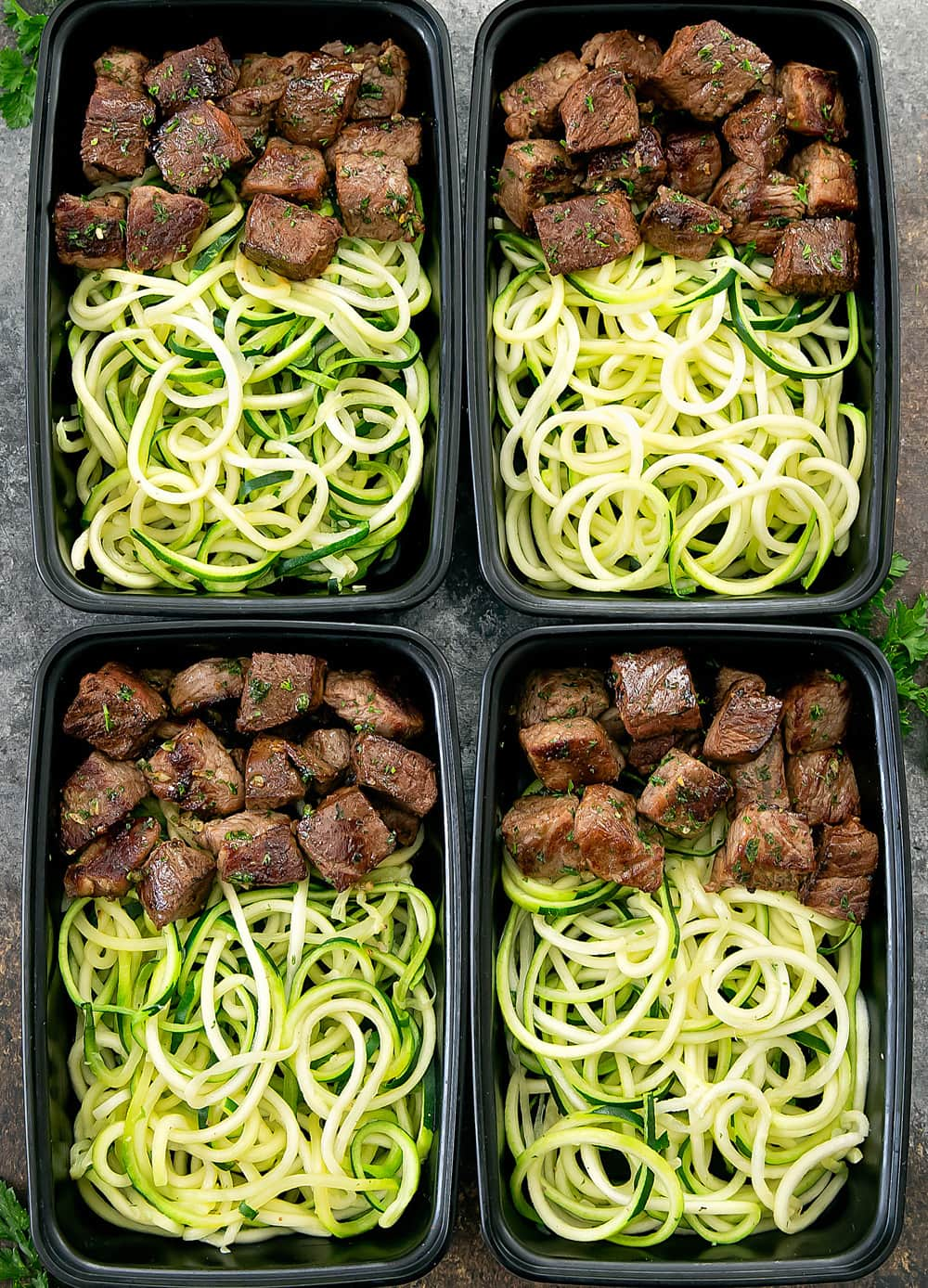 Garlic Butter Steak And Zucchini Noodles Meal Prep