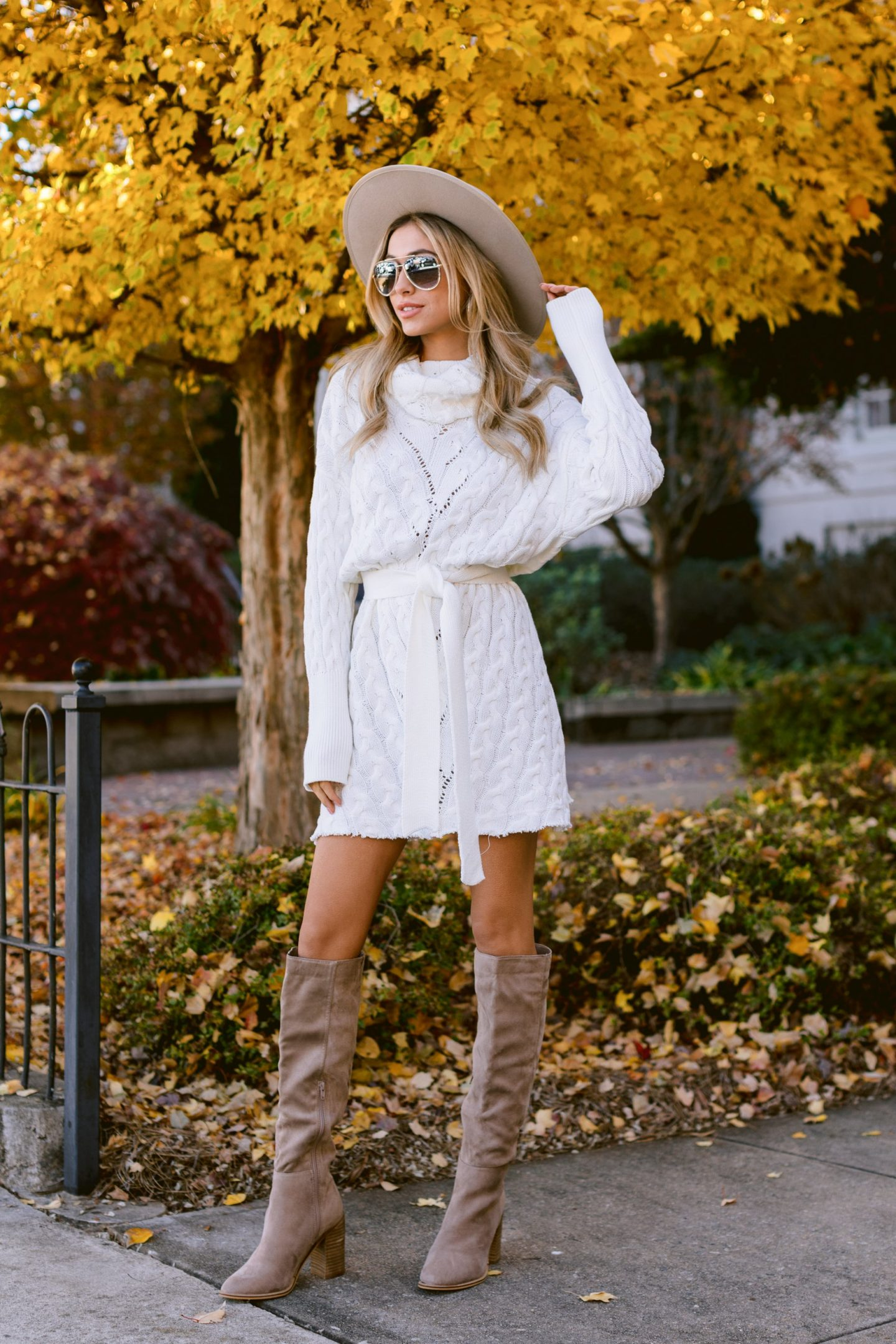 Cute white sweater dress outfit with over the knee boots