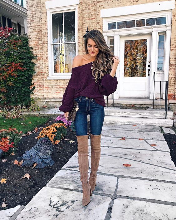 Cute Thanksgiving outfits with sweater and brown over the knee outfits
