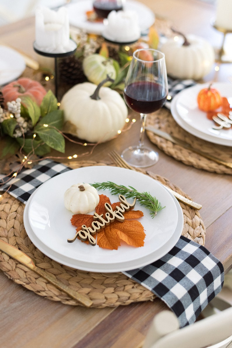 SImple Thanksgiving table settings with wooden place cards
