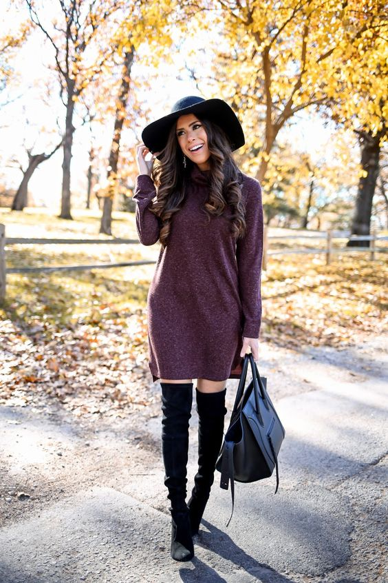 Black over the knee boots outfit with sweater dress and fedora hat