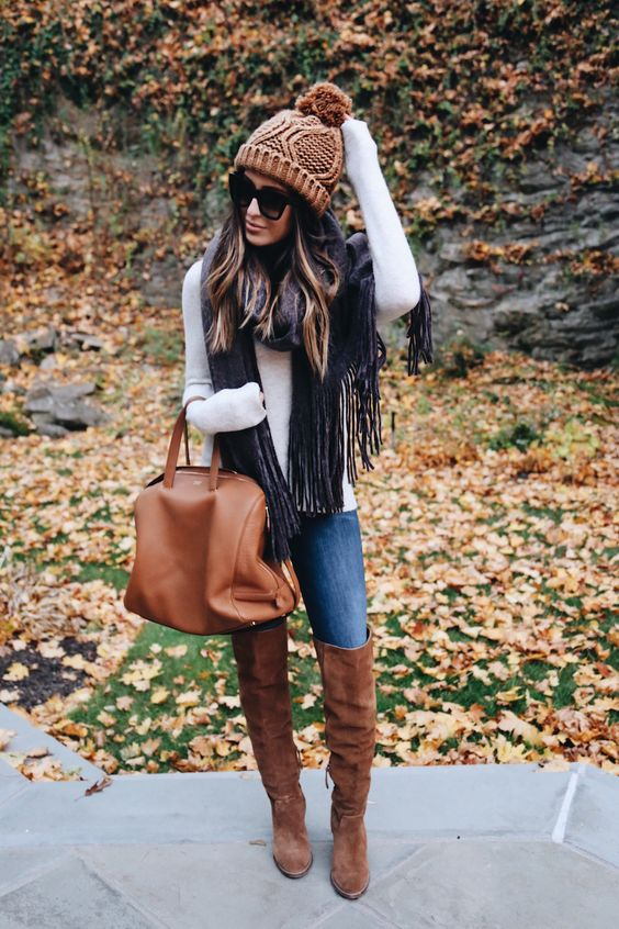 Cute Thanksgiving outfits with tan over the knee boots