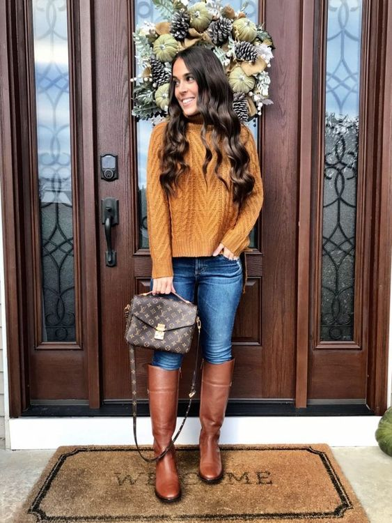 Mustard yellow sweater outfit ideas - cute Thanksgiving outfits