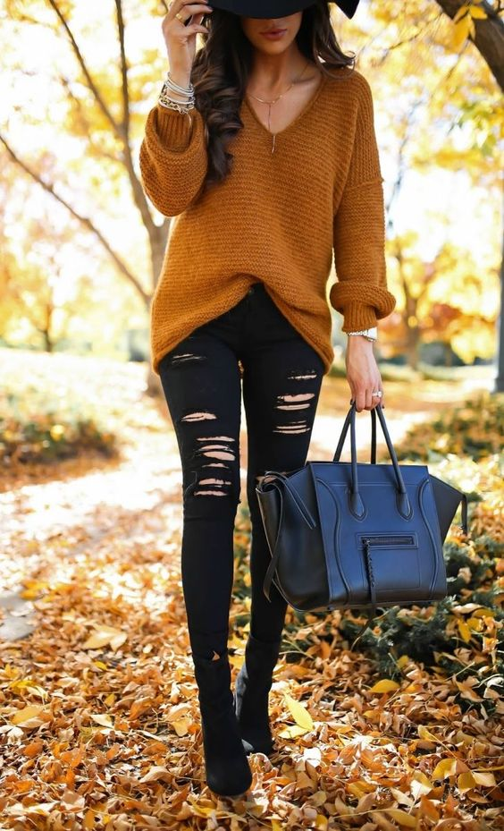 Black ripped jeans outfits with sweater