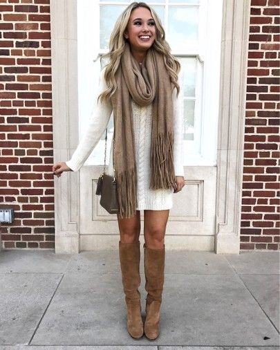 Cute Thanksgiving outfits with knee high boots, beige wrap scarf and sweater dress