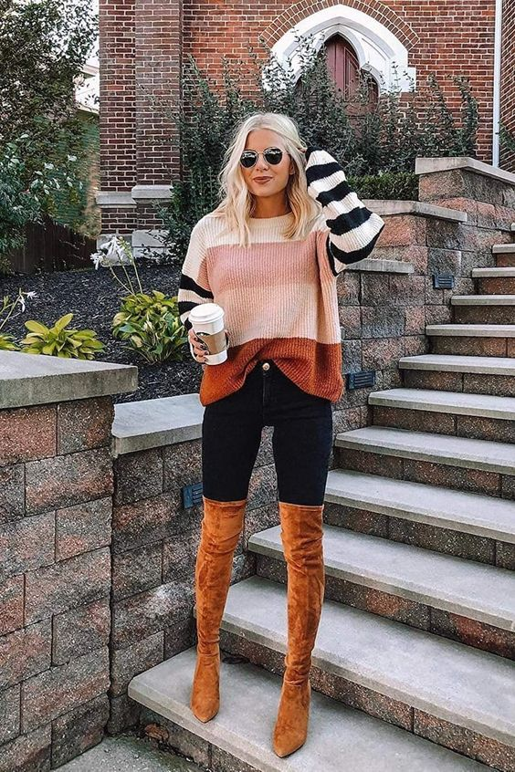 Cute Thanksgiving outfits with tan over the knee boots and color blocking sweater