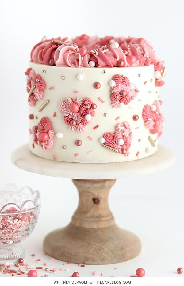 Cute Piped Hearts Valentine's Cake