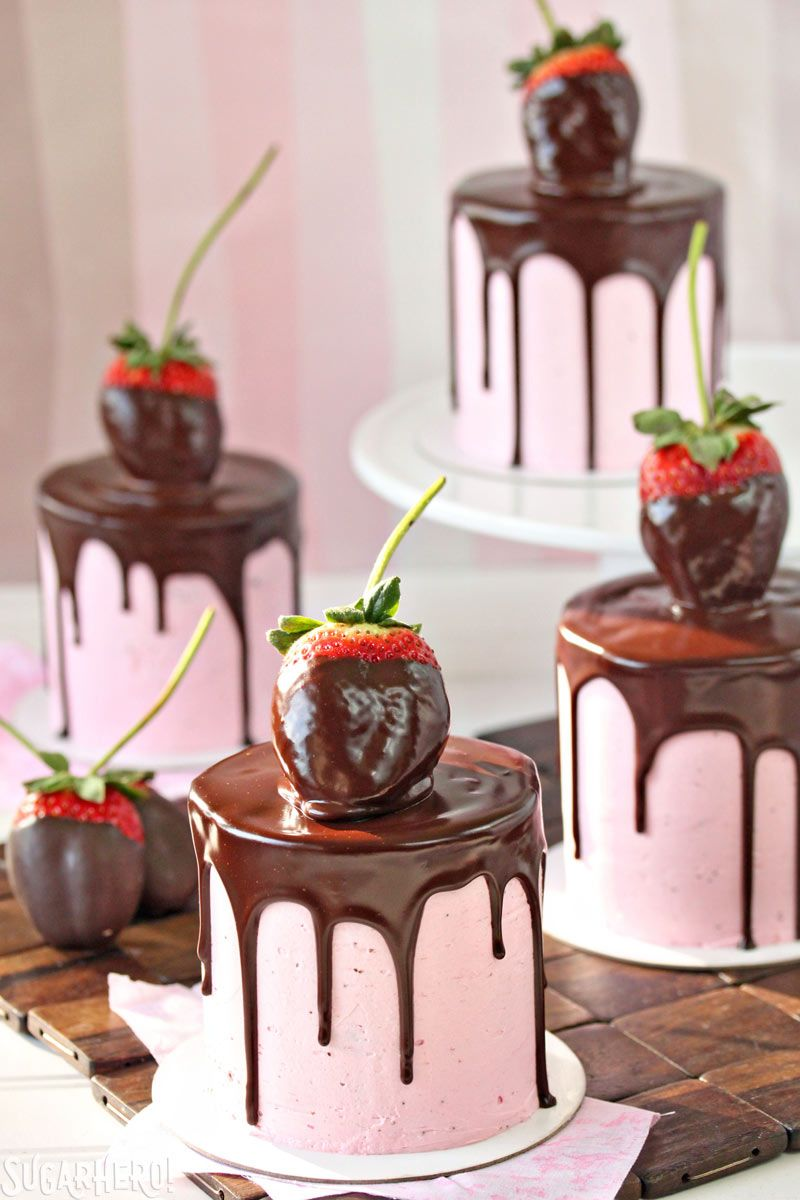 Pink Chocolate-Covered Strawberry Cakes