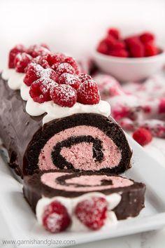 Cute Valentine's Cake Ideas: Raspberry Chocolate Swiss Roll