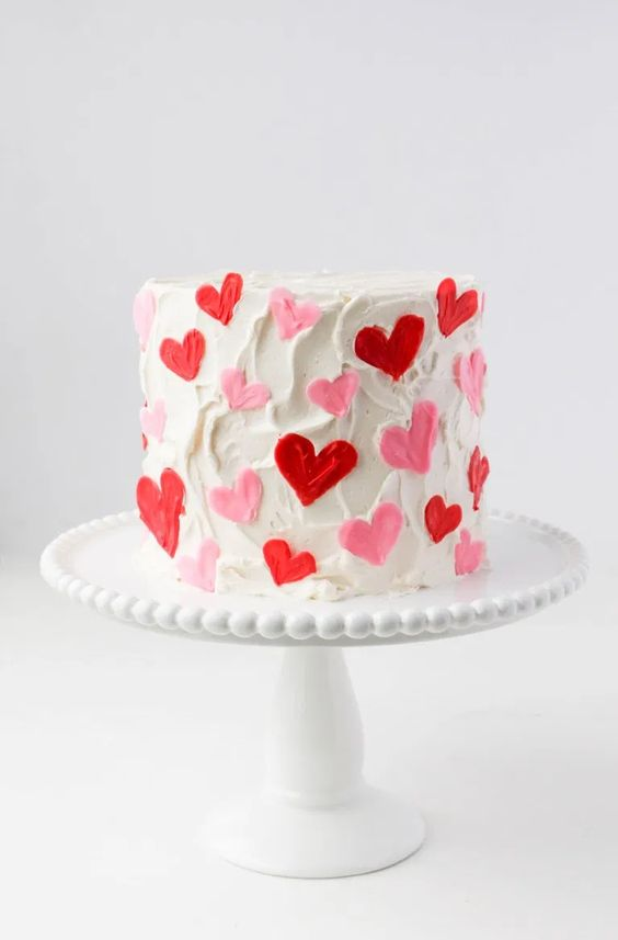Simple And Cute Valentine's Day Cake With Heart Shaped Decorations