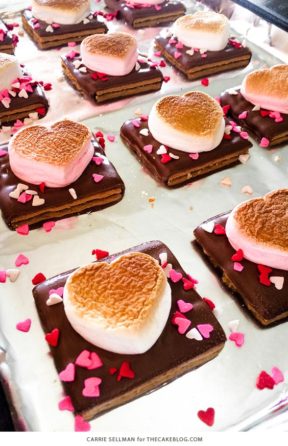 Valentine's Day Desserts: Heart Shaped S'more Cookies