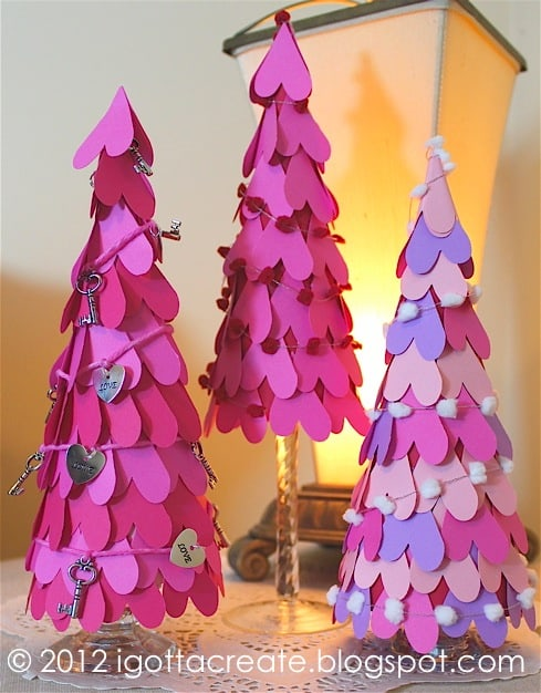 Easy DIY Valentine's Day decor ideas and Valentine's decorations: Paper Heart Trees